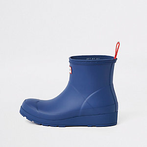Hunter Play blue short wellington boots