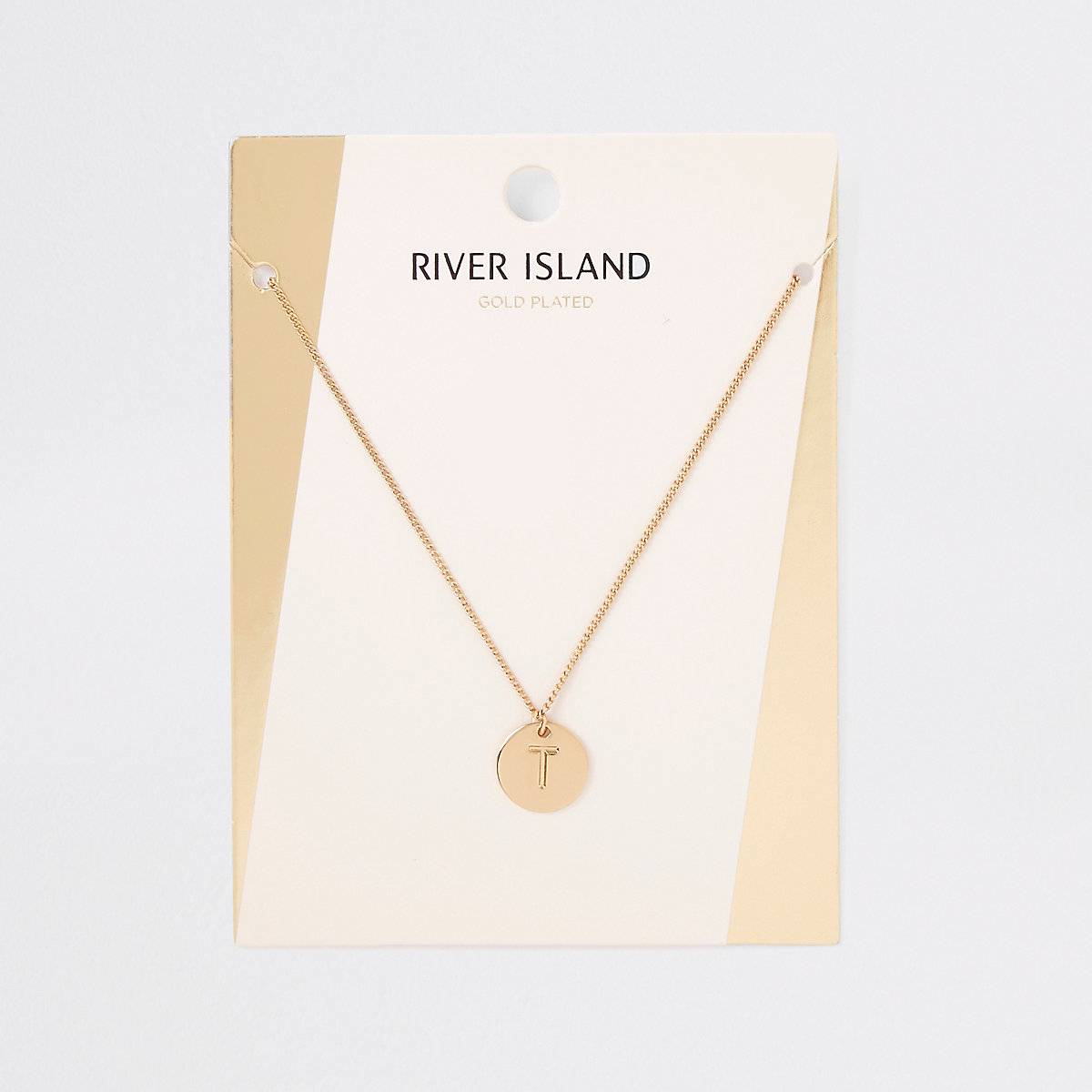 Gold plated 'T' engraved necklace