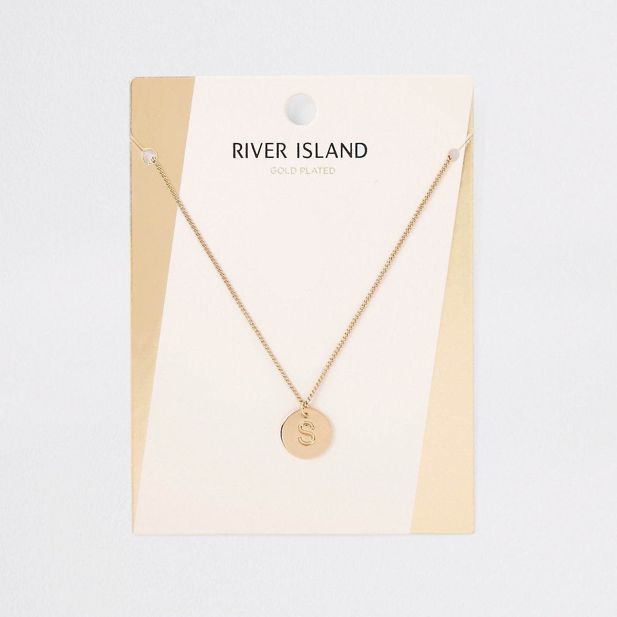 Gold plated 'S' engraved necklace