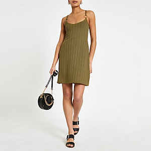 Khaki textured jersey swing dress