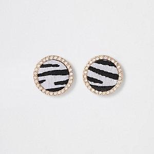 Zwarte ronde oorknopjes met zebraprint