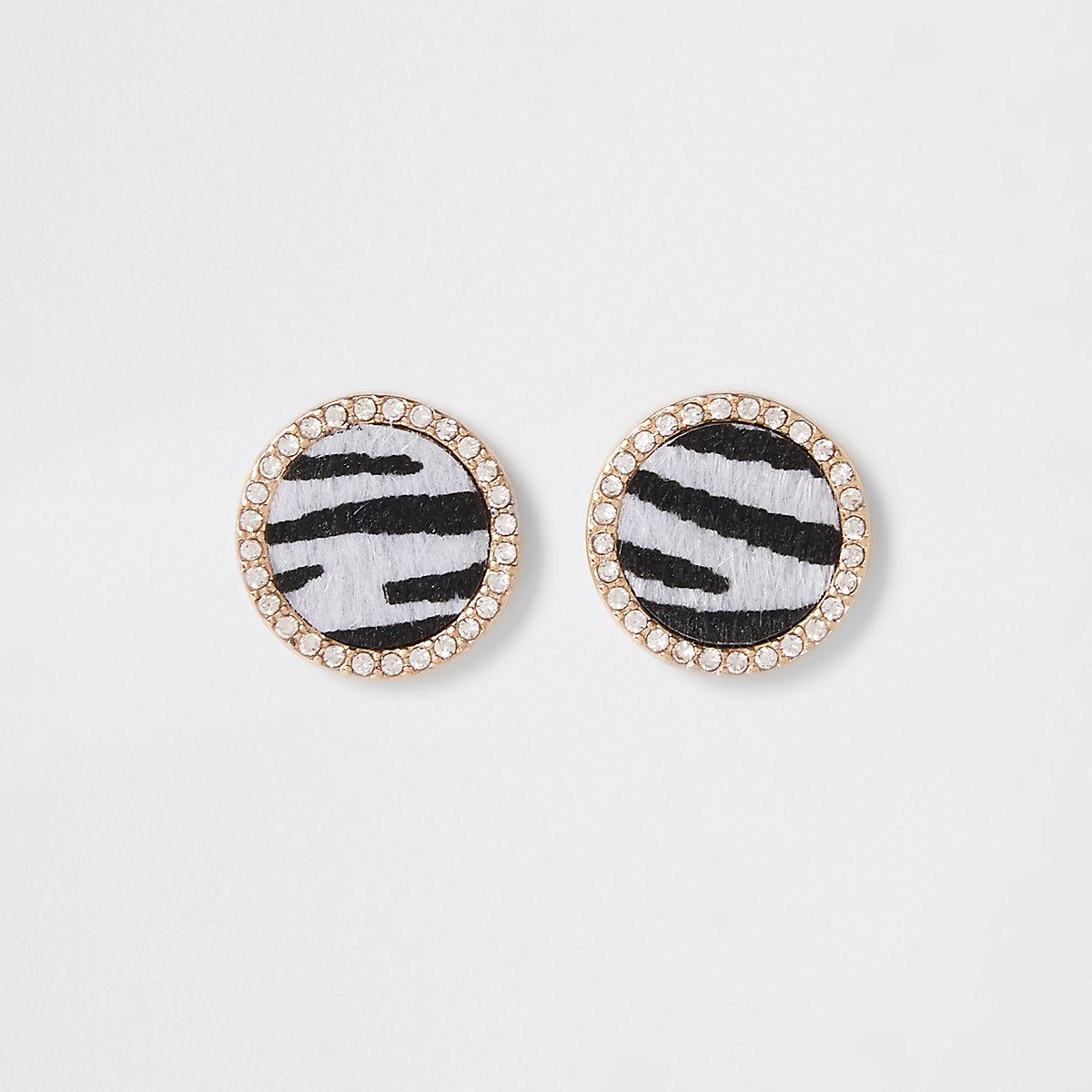 Black zebra print round studs