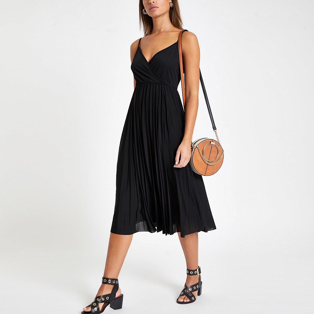 Black plisse wrap dress