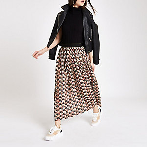 Brown geo print pleated midi skirt