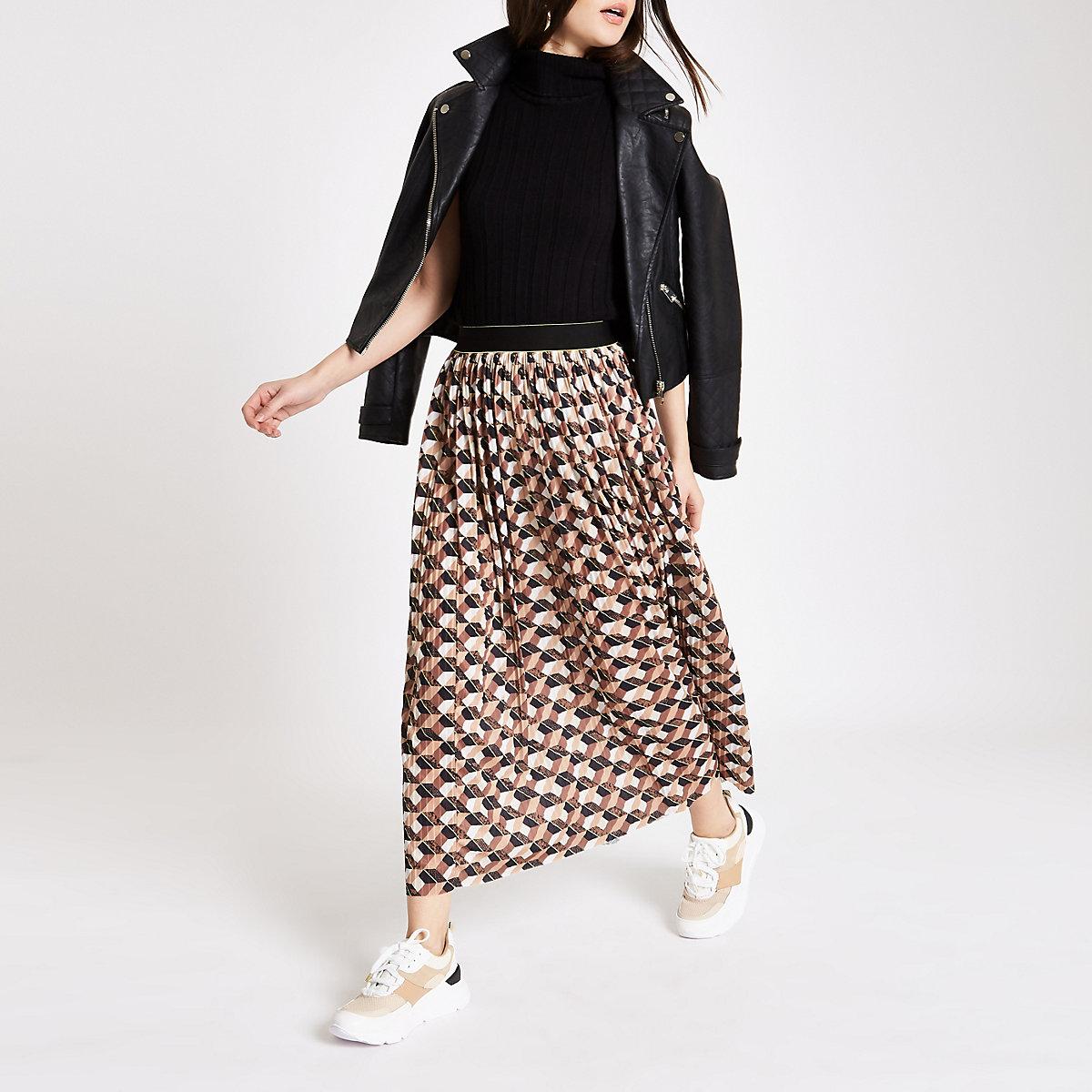 Brown geo print pleated midi skirt