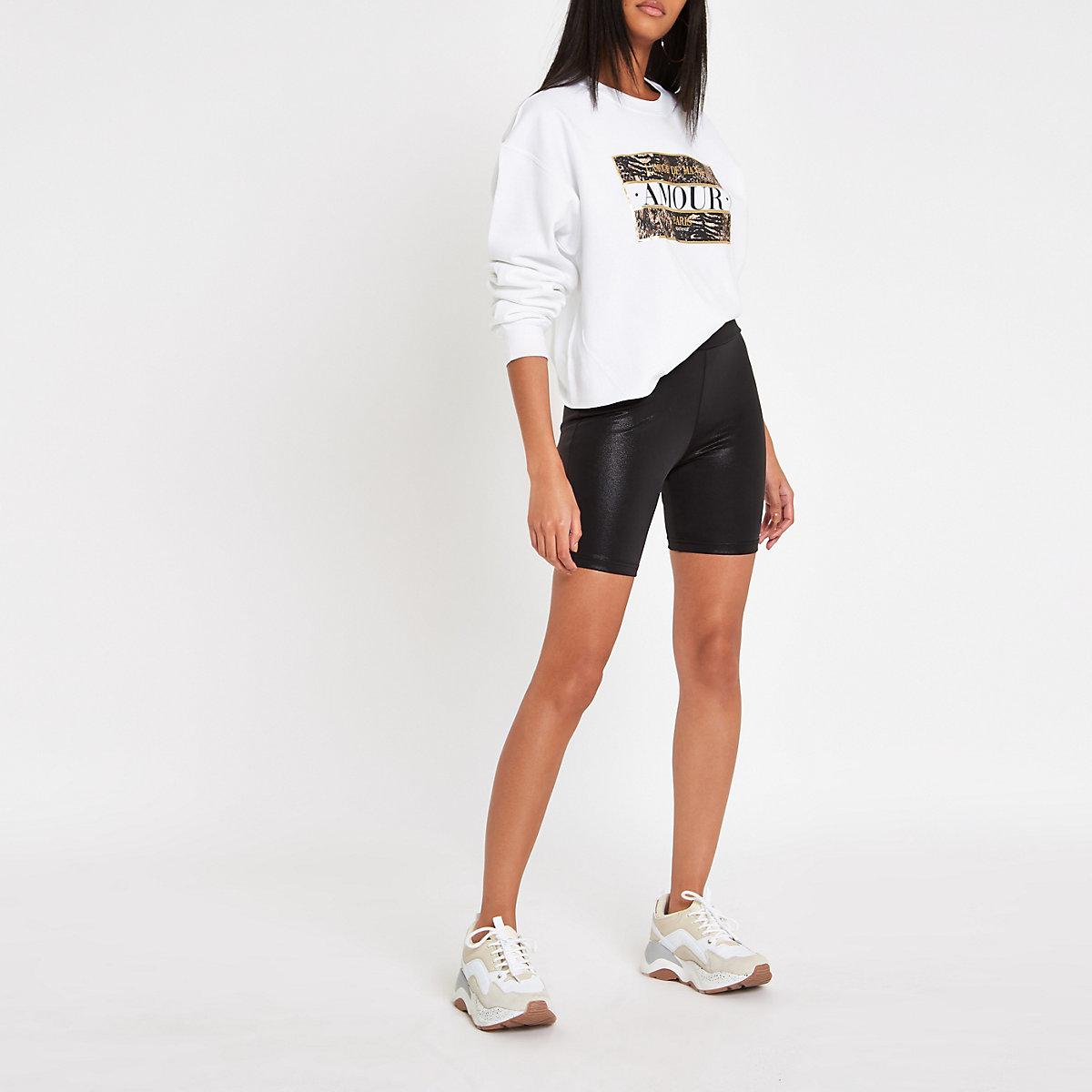 Schwarze, beschichtete Rad-Shorts