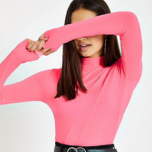 Bright pink ribbed high neck top