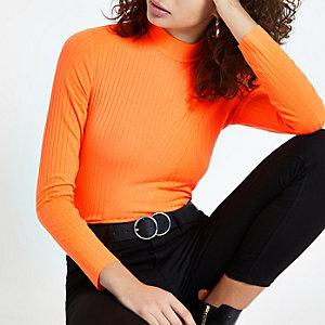 Top côtelé orange fluo à col montant