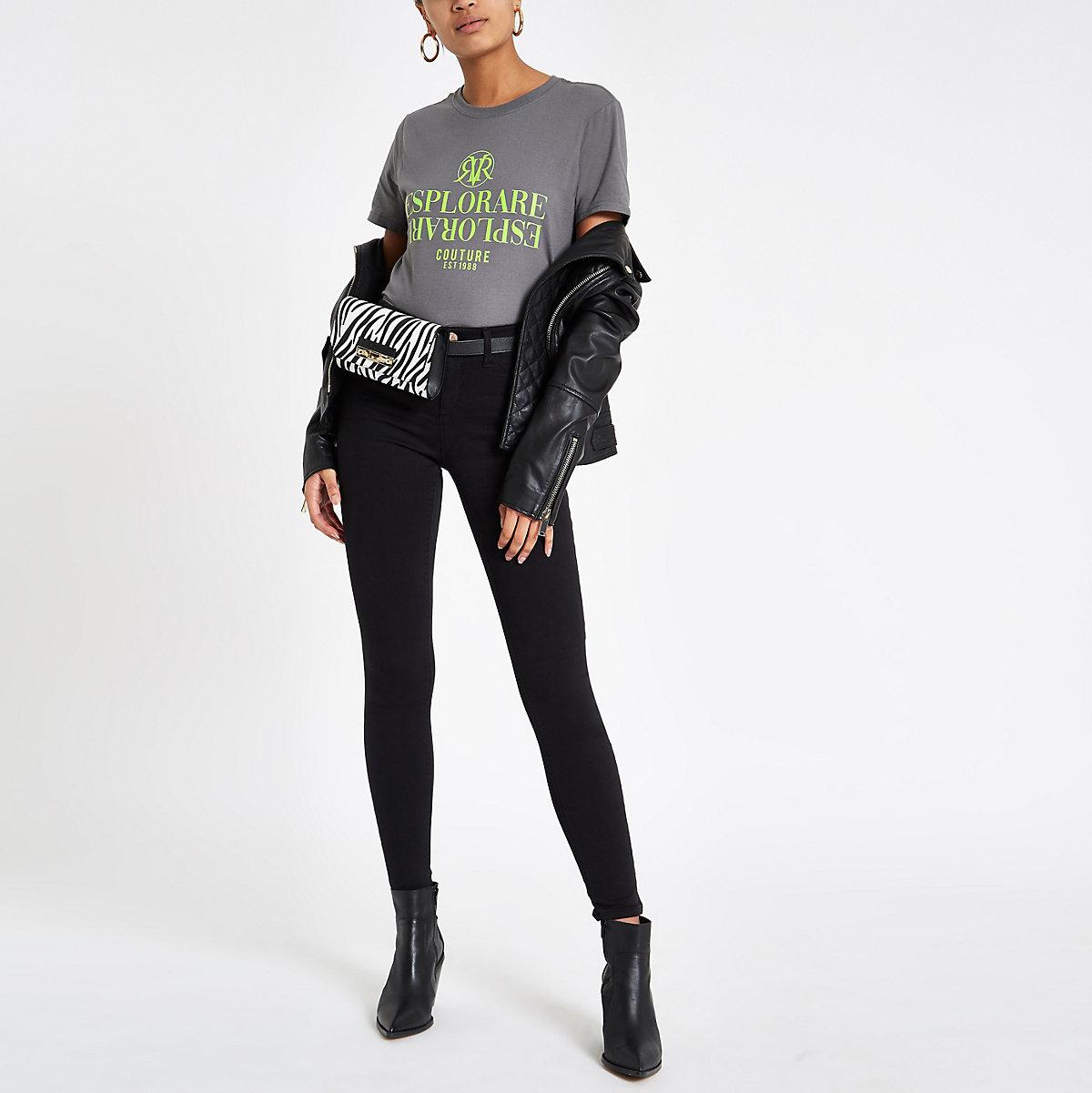 Grey 'Esplorare' fluro print T-shirt
