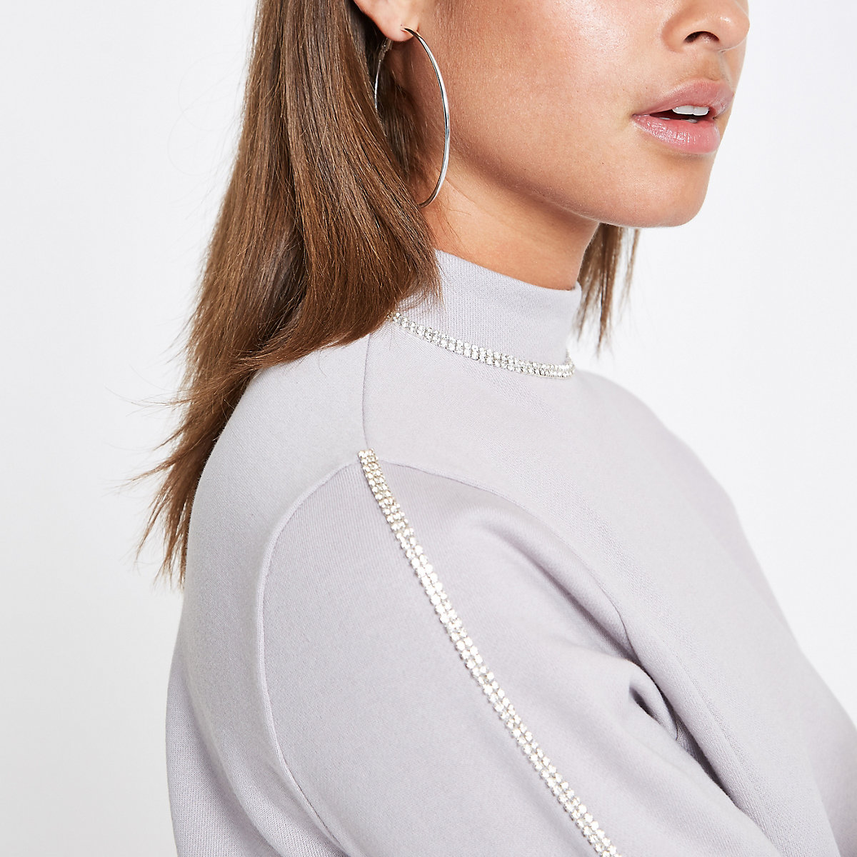 Grey diamante trim sweatshirt