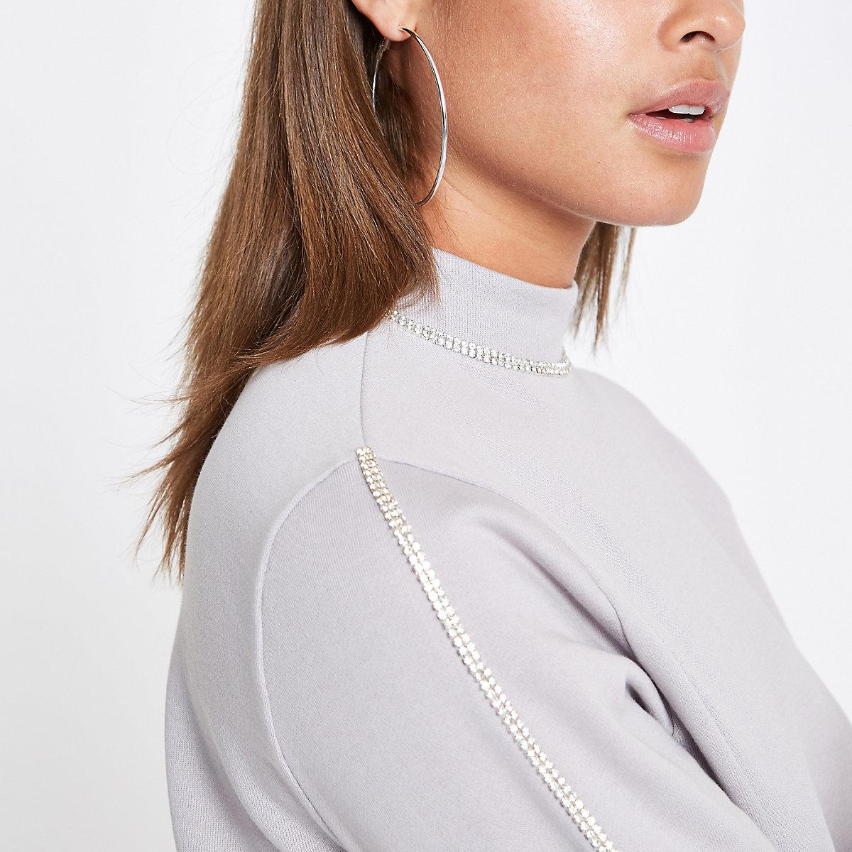 Grey rhinestone trim sweatshirt