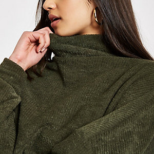 Khaki high neck batwing sweater