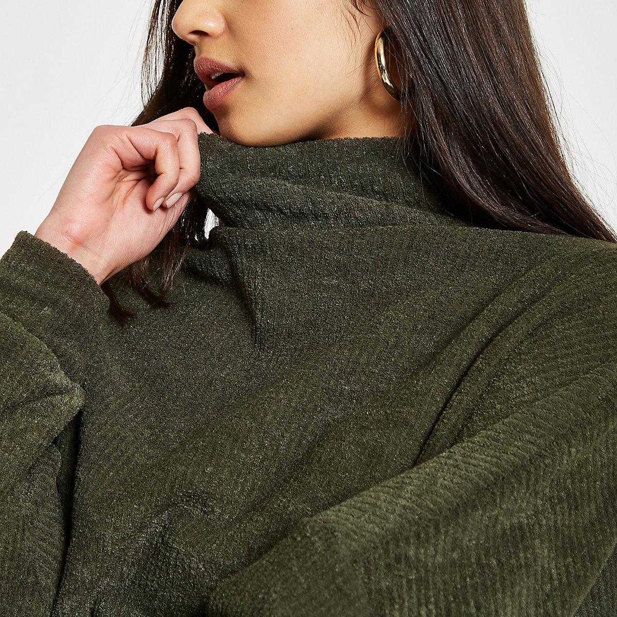 Khaki high neck batwing sweater