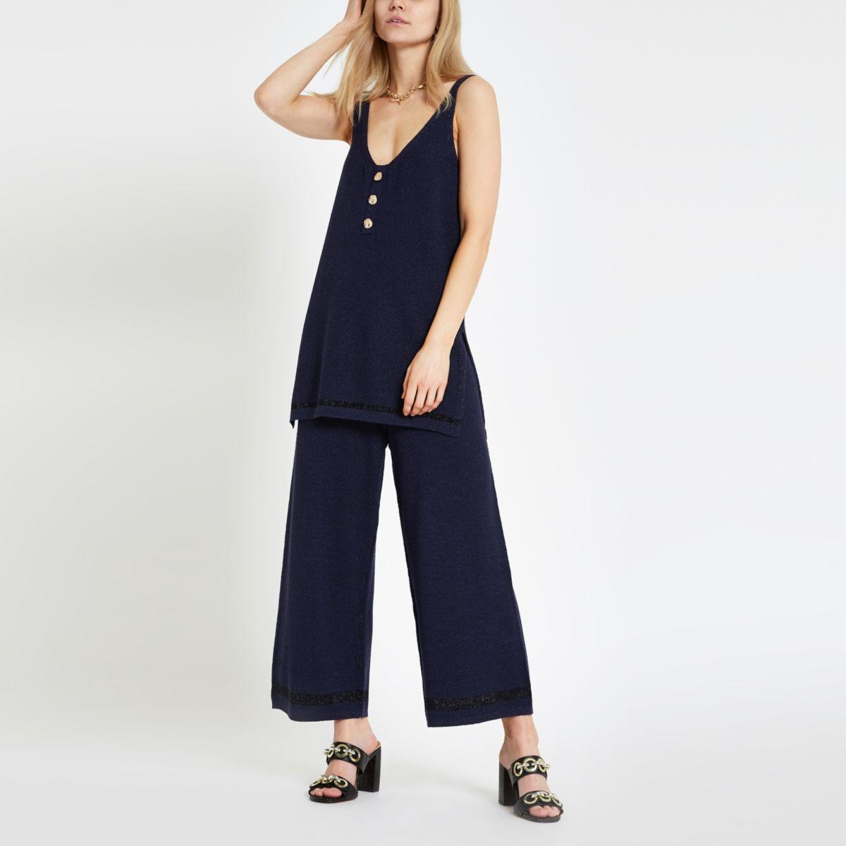 Jupe-culotte large bleu marine à paillettes