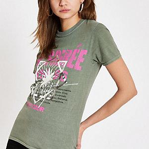 """Khaki T-Shirt mit """"La soiree""""-Print"""