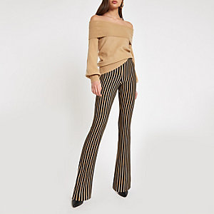 Beige stripe flare pants
