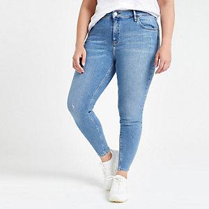 RI Plus - Amelie - Middelblauwe skinny jeans met halfhoge taille