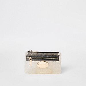Goudkleurige perspex kleine tas met rits rondom