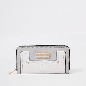 Grey zip around purse