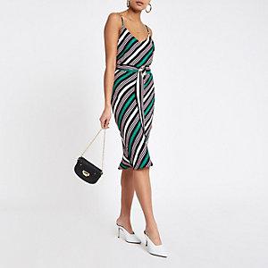 Grünes, gestreiftes Kleid mit Taillenschnürung