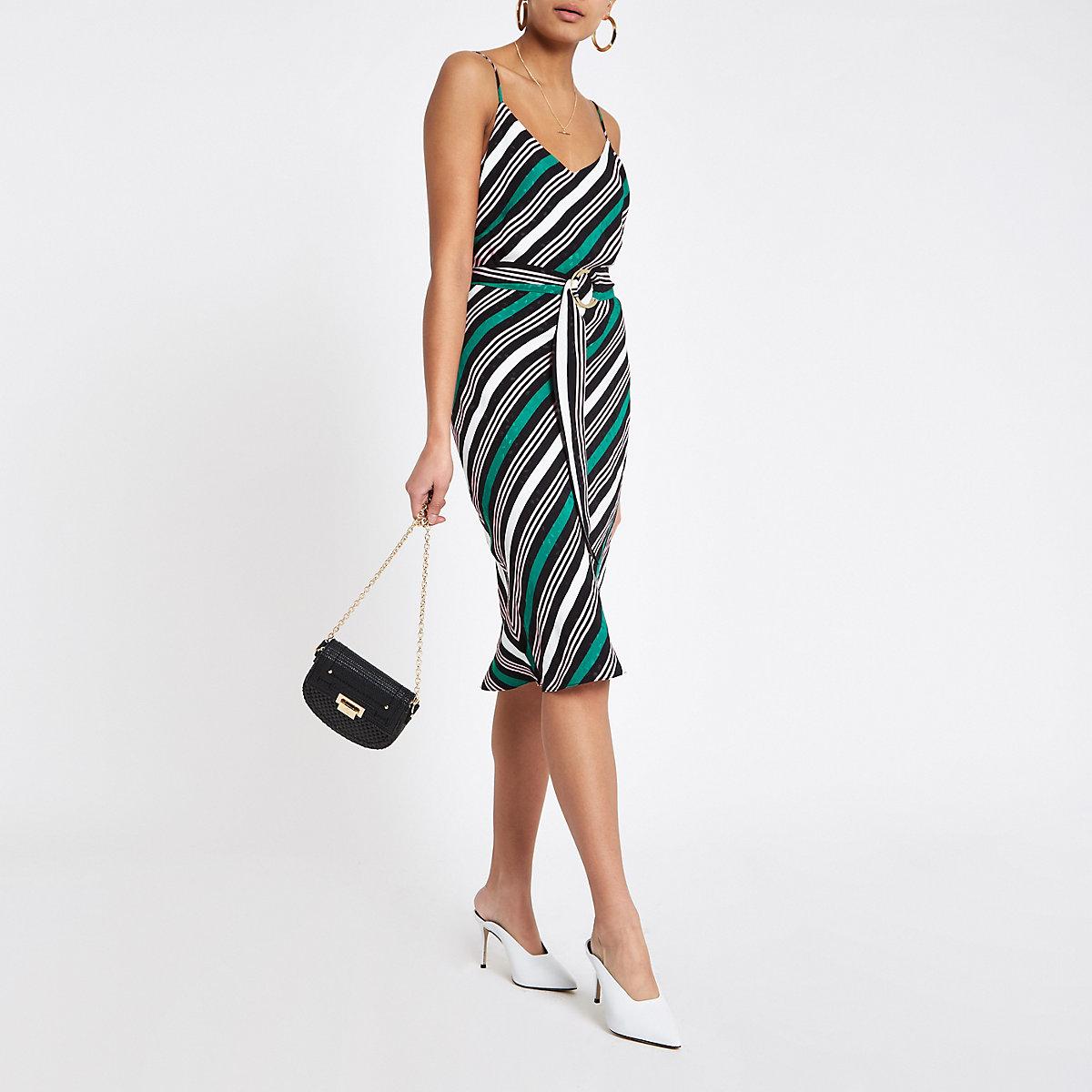 Green stripe tie waist dress