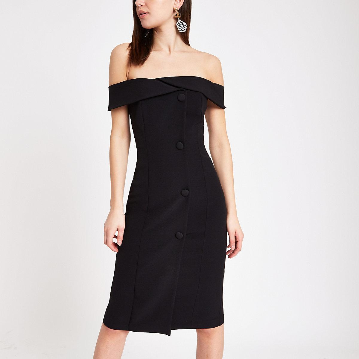 Black button front bardot midi dress