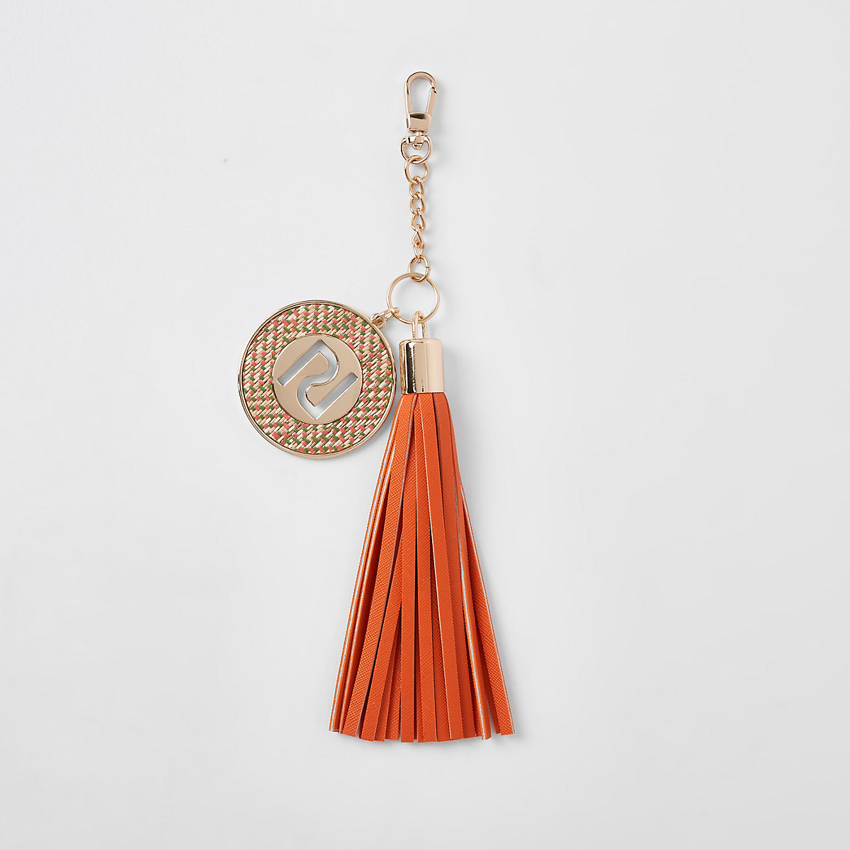 Orange RI tassel charm keyring