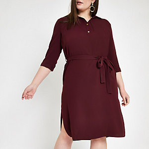Plus dark red belted dress