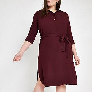 RI Plus - Donkerrode jurk met ceintuur