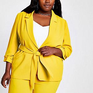 Plus – Blazer jaune à ceinture et manches froncées