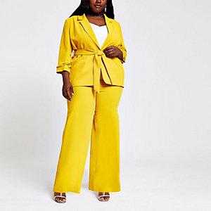 Plus – Gelbe Hose mit weitem Beinschnitt