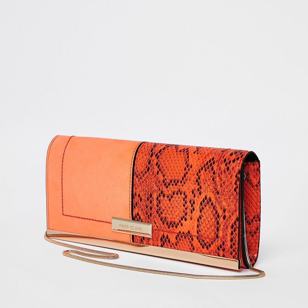 Orange snake print panel clutch