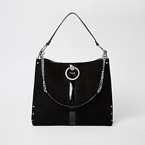 Black circle silver chain slouch bag