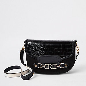 Black gold tone snaffle cross body bag