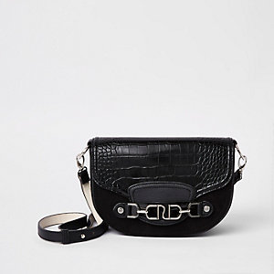 Black silver tone snaffle cross body bag