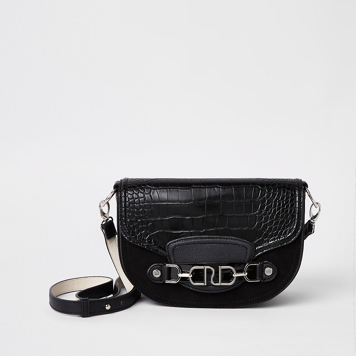 Black silver tone snaffle cross body bag