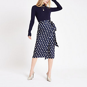 Navy spot print wrap tie skirt