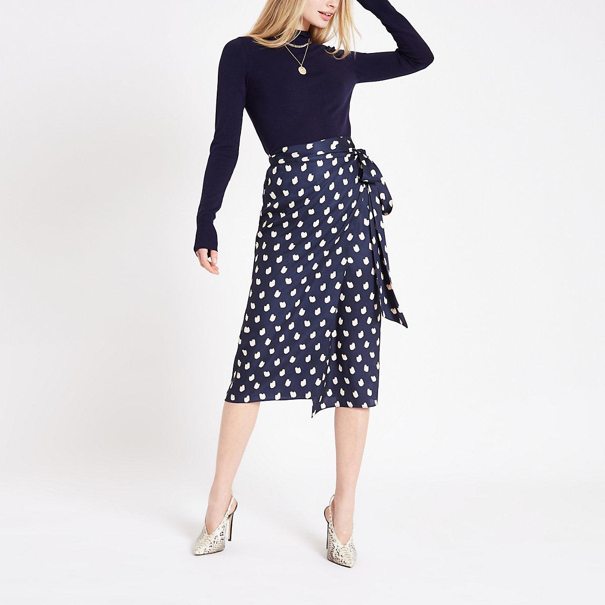 Navy spot print wrap tie skirt