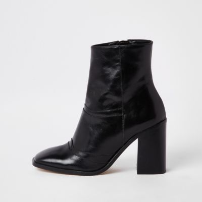 Black Leather Square Toe Ankle Boots by River Island