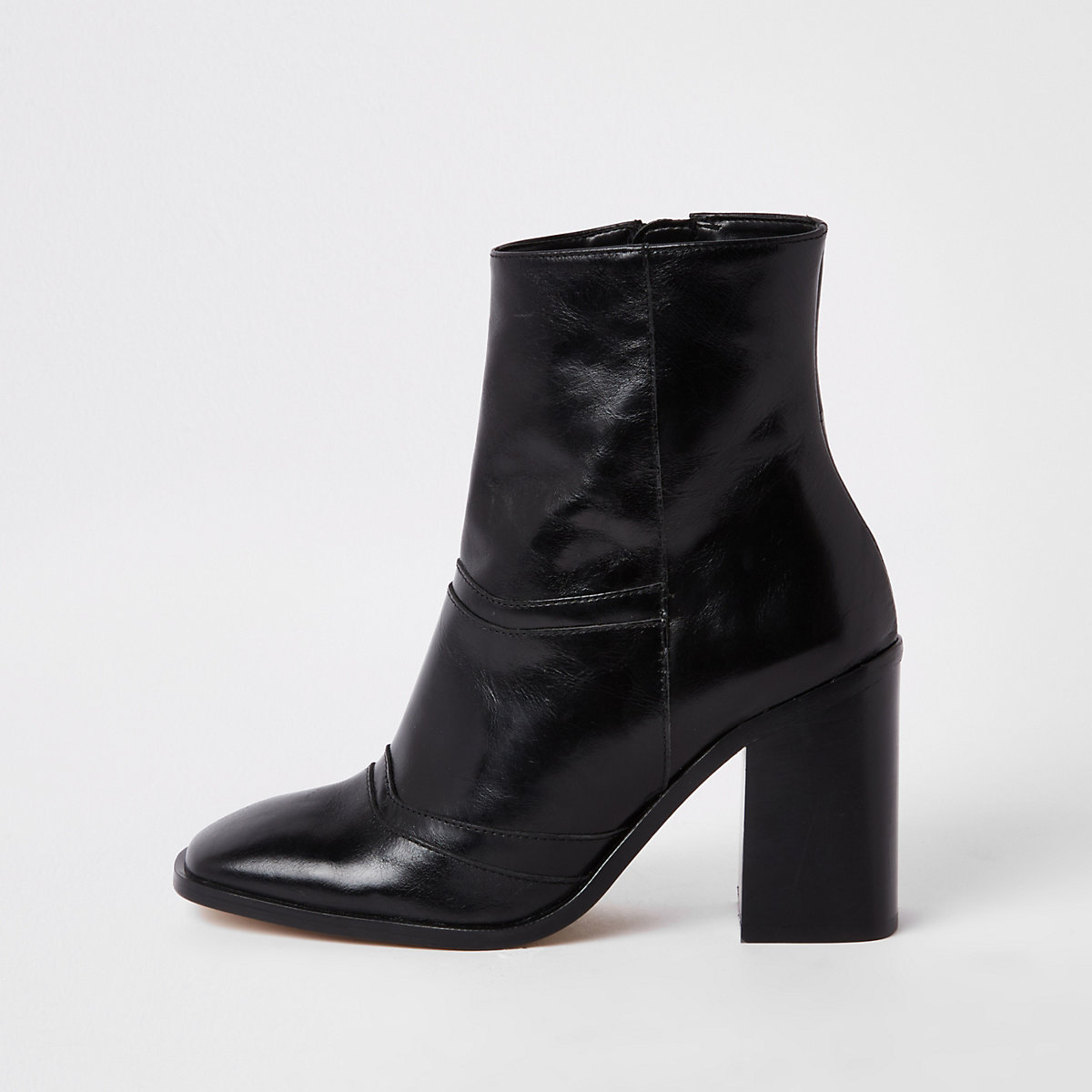 Black leather square toe ankle boots
