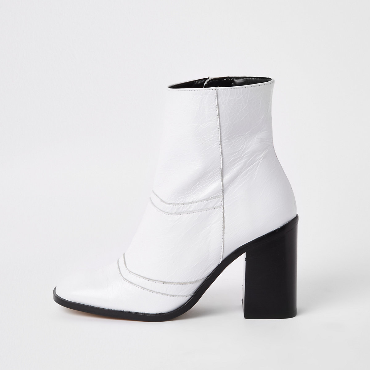 White leather square toe ankle boots