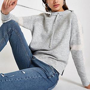 Grijze gebreide cropped hoodie met lange mouwen