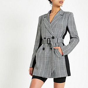 Grey check double breasted belted blazer