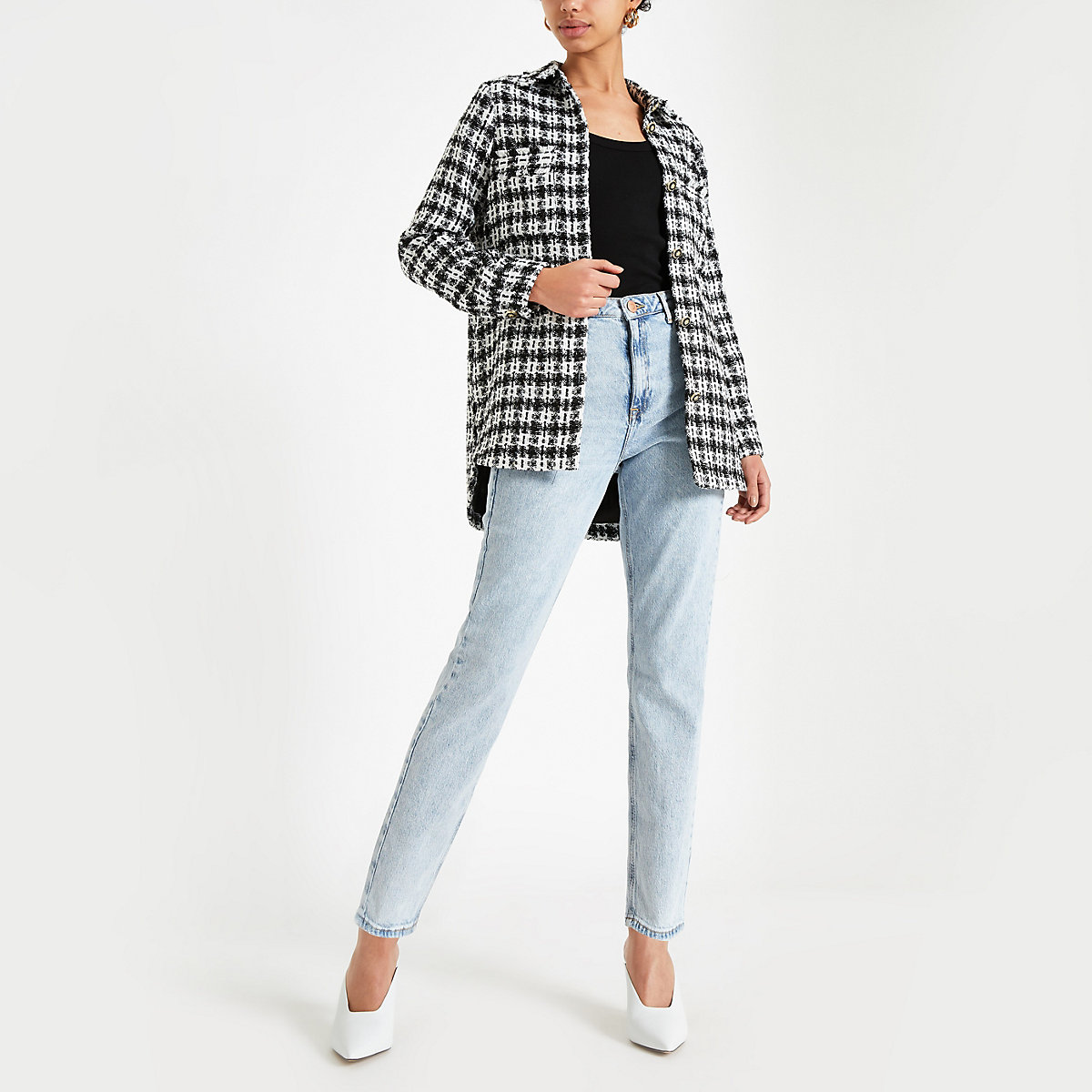 Black check boucle shirt