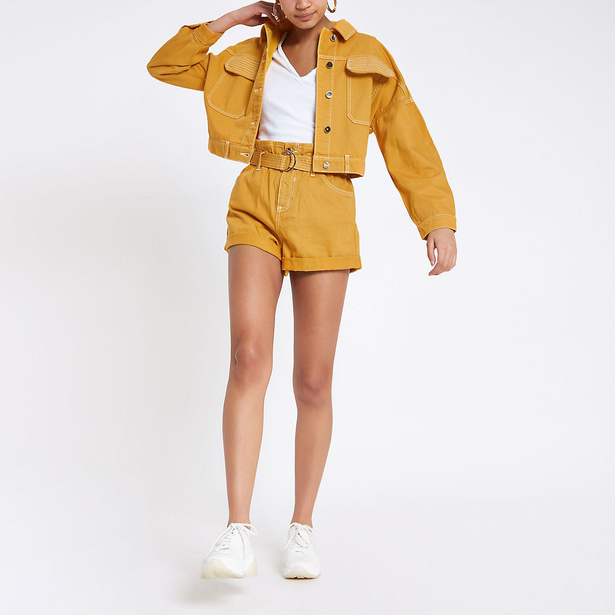 Dark yellow cropped denim jacket