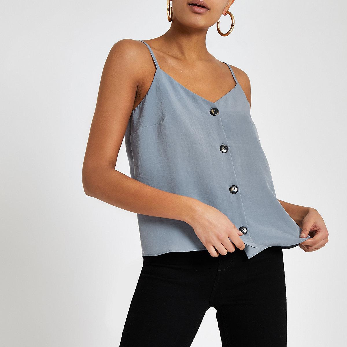 Grey button front cami top