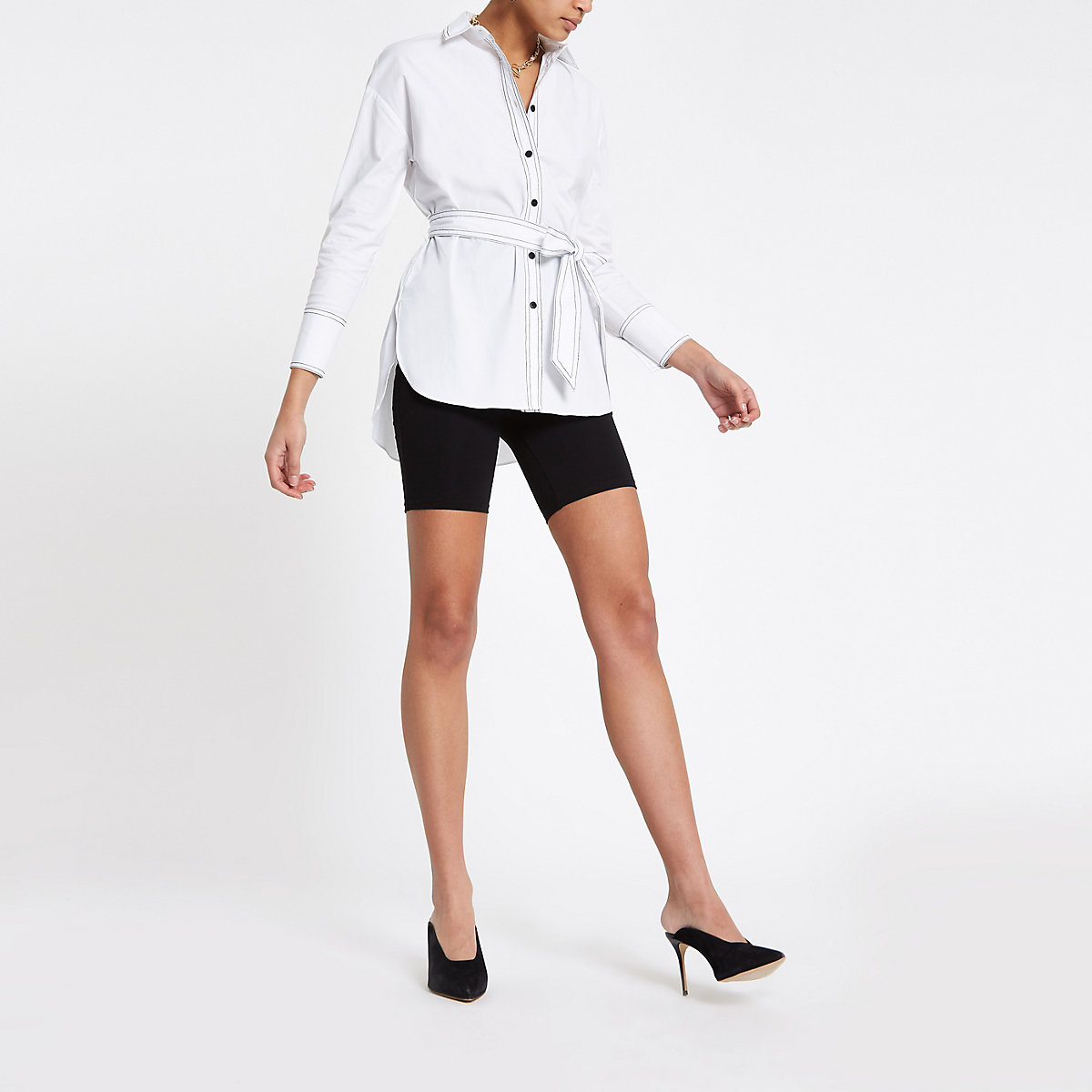 White tie waist long sleeve shirt