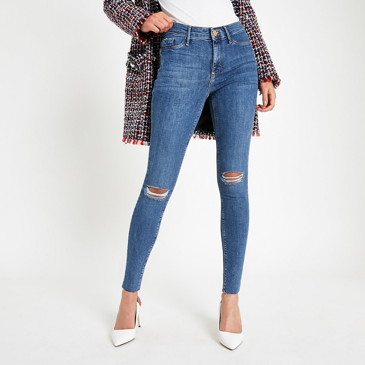 Mid blue Molly ripped knee jeggings