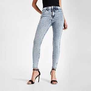 Blue acid wash Molly mid rise jeggings