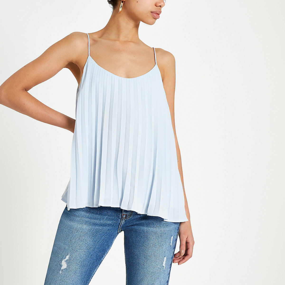 Light blue pleated cami top